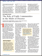 The Role of Faith Communities in the Midst of Disaster