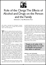 Role of the Clergy: The Effects of Alcohol and Drugs on the Person and the Family