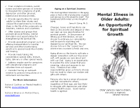 Mental Illness in Older Adults: An Opportunity for Spiritual Growth