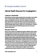 Anabaptist Disabilities Network Mental Health Resource for Congregations