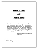 Mental Illness and Justice Issues